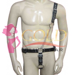 Black Leather Harness With jock & Chains