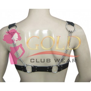 LEATHER ADJUSTABLE HARNESS WITH CHAIN