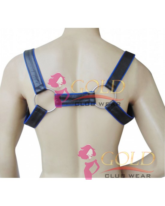 LEATHER ADJUSTABLE HARNESS WITH O-RING Blue PIPING