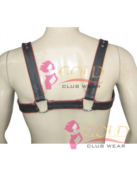 LEATHER ADJUSTABLE HARNESS WITH O-RING Red PIPING