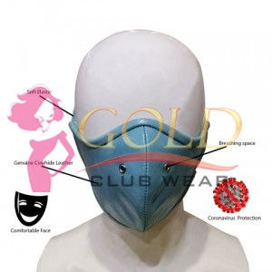 Blue Leather Corona virus Protected Mask with Breathing Space Ring