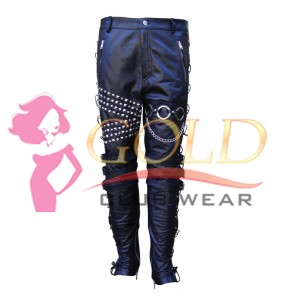 Black Leather Trouser With Metal Works