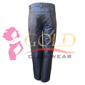 Men's Black Leather Jean's Style Pant