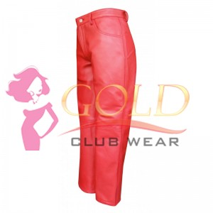 Men's Red Leather Jean's Style Pant