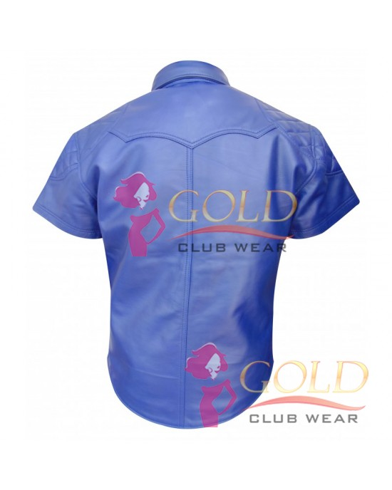 Blue Leather Shirt With Padded Shoulder