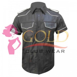 Short Sleeve Leather Shirt With White Piping