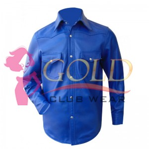 Real Blue Long Sleeve Leather Shirt