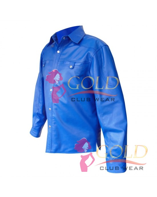 Real Blue Leather Shirt With Two Front Pockets