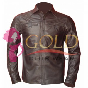 Real Brown Leather Shirt With Two Front Pockets