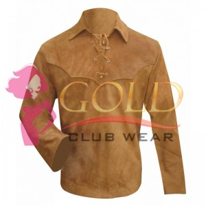 Suede Leather Shirt With Elbow Sheep Leather And Lace Front