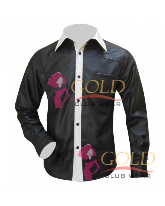 Leather Shirt In Black & White Two Tone