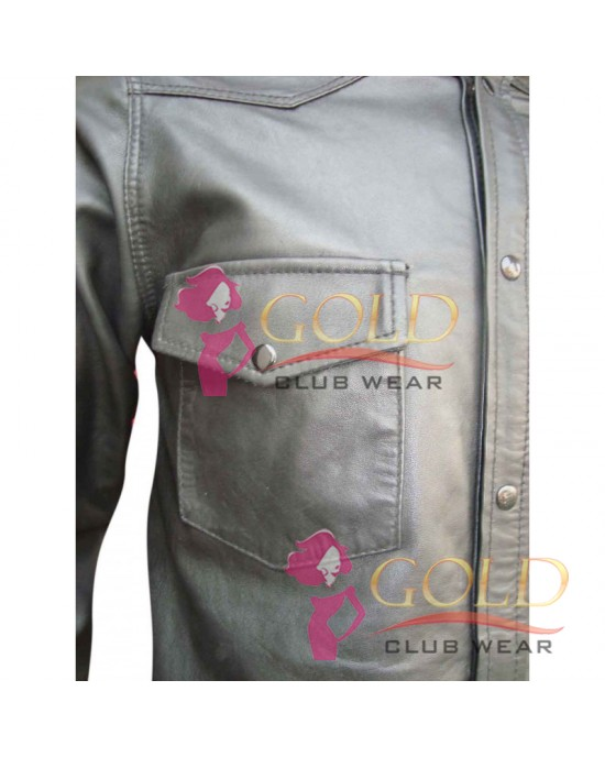Black Leather Long Sleeve Shirt With Front two Pockets