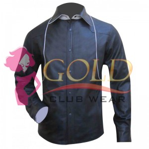 Long Sleeve Leather Shirt With White Piping