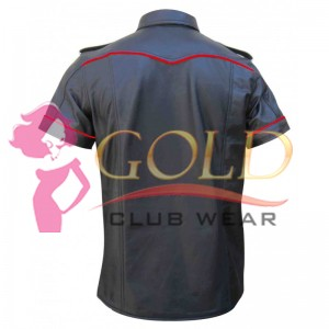 Short Sleeve Leather Shirt With Red Piping