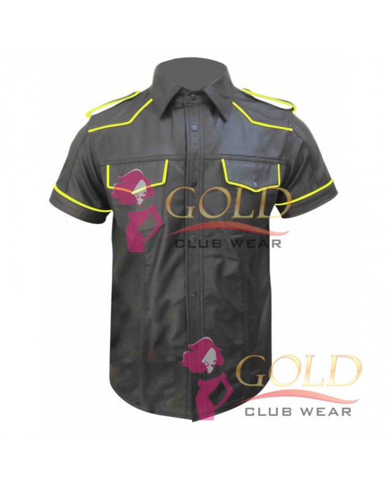 Short Sleeve Leather Shirt With Yellow Piping