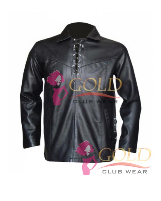 Black Leather Long Sleeve Shirt With Side Laces