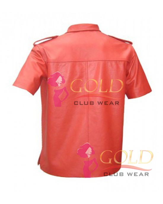 Short Sleeve Red Leather Shirt