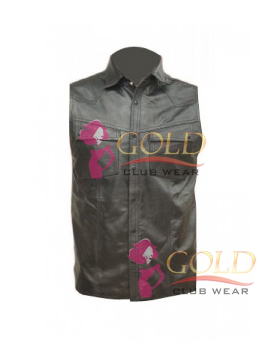 Black Leather Sleeveless Shirt