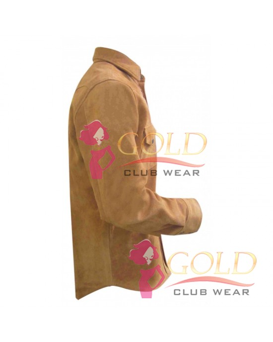 Suede Leather Shirt With Front Buttons