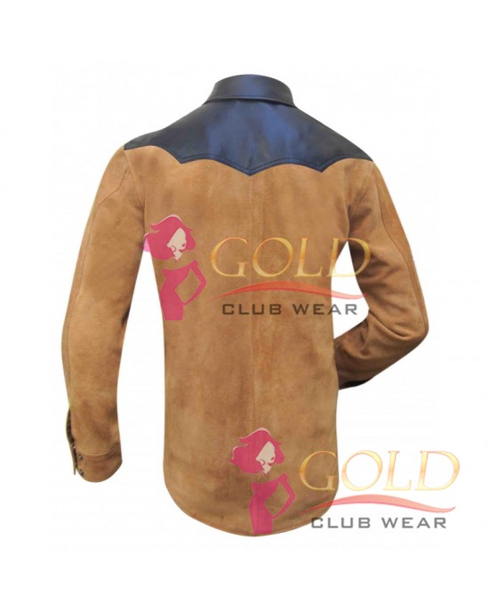 Suede Leather Shirt With Upper Sheep Leather With Two Front Pocket