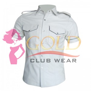 White Leather Shirt With Black Piping And Flap Pockets
