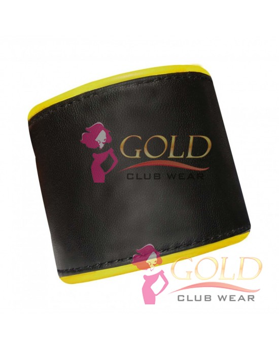 Leather Wristband With Yellow Piping