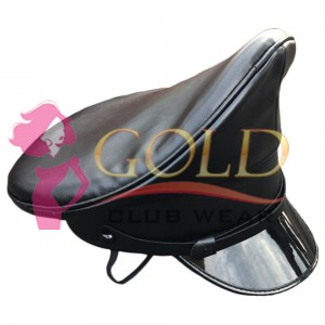 Officer Cap PU Leather Police Hat Performance Stage Show Night Bar Hat