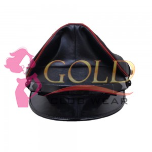 Officer Cap Real Leather Police Hat Performance Stage Show Night Bar Hat RED PIPING