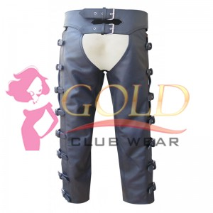 BLACK LEATHER WITH SIDE BUCKLES ON THE OUTER LEG EDGE CHAPS