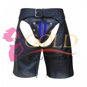 LEATHER CHAPS SHORTS WITH BLUE STRIPE ON THE SIDE