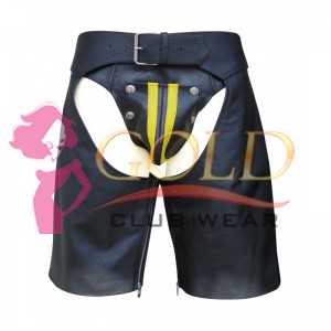 LEATHER CHAPS SHORTS WITH Yellow STRIPE ON THE SIDE