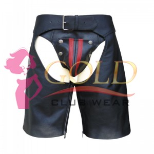 LEATHER CHAPS SHORTS WITH COLOR STRIPE ON THE SIDE
