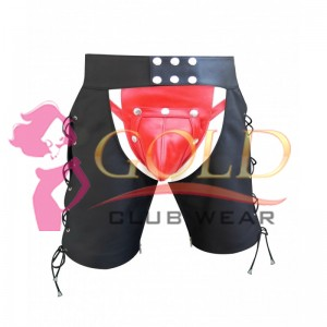 MEN'S LEATHER CHAPS SHORTS WITH LACE-UP STYLE