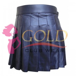 BLACK SHORT LEATHER KILT WITH BUCKLE