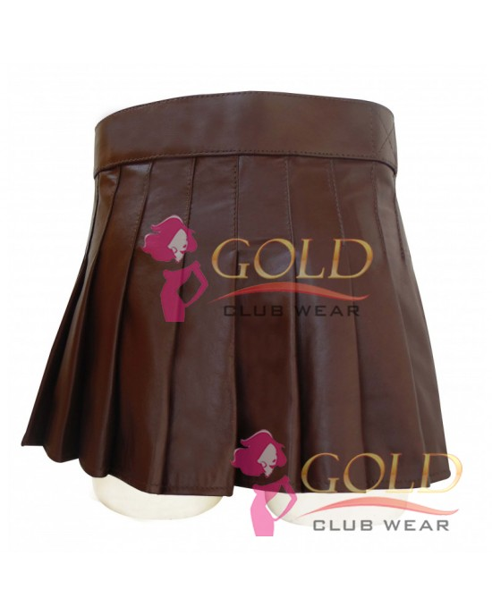BROWN SHORT LEATHER KILT WITH BUCKLE