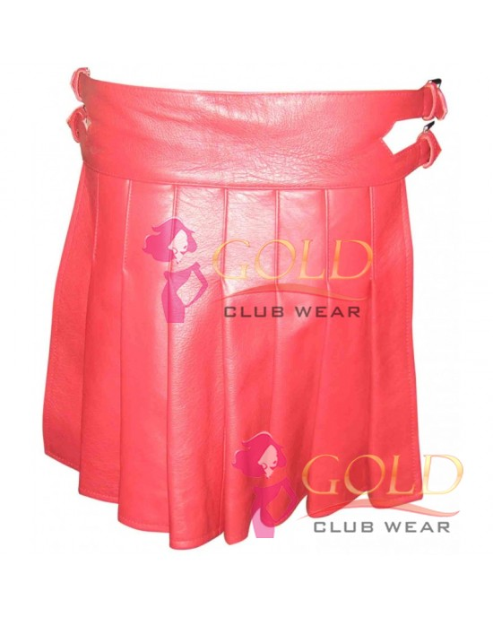 MINI RED LEATHER KILT GLADIATOR STYLE WITH STUDS