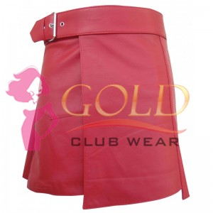RED SHORT LEATHER KILT WITH BUCKLE