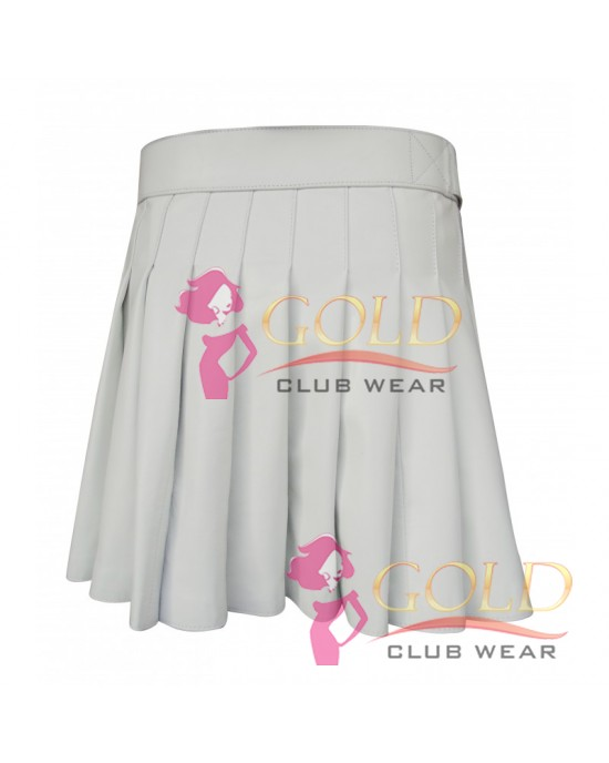 WHITE SHORT LEATHER KILT WITH BUCKLE
