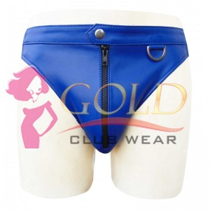 BLUE LEATHER BRIEFS WITH FRONT ZIPPER