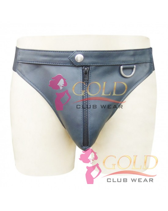 GREY LEATHER BRIEFS WITH FRONT ZIPPER