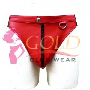 RED LEATHER BRIEFS WITH FRONT ZIPPER
