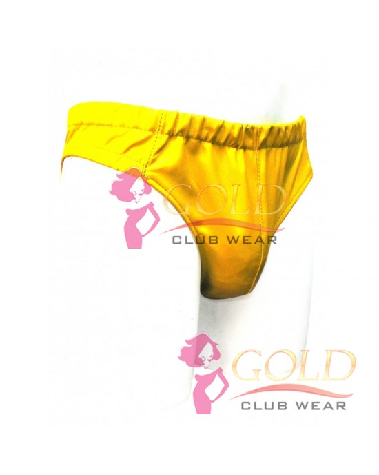 YELLOW LEATHER ELASTICATED BRIEFS