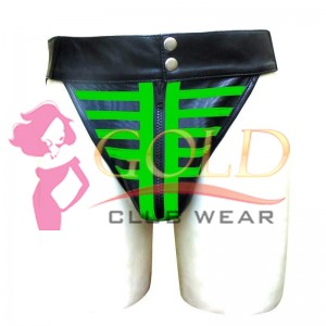 LEATHER JOCKSTRAP SKELETON STYLE WITH GREEN STRIPE