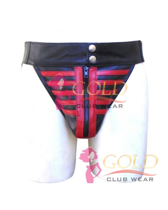 LEATHER JOCKSTRAP SKELETON STYLE WITH RED STRIPE