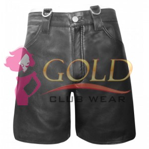 BLACK LEATHER COMBAT SHORTS WITH D-RING