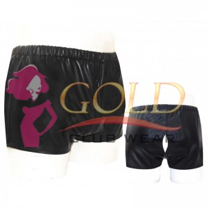 BLACK LEATHER HOT SHORTS WITH BEAUTIFUL CUT ON BACK