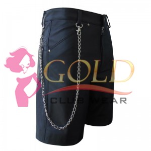 BLACK LEATHER COMBAT SHORTS FOR MEN