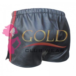 BLACK LEATHER SHORTS WITH RED STRIPE