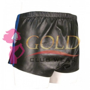 BLACK LEATHER SHORTS WITH BLUE STRIPE
