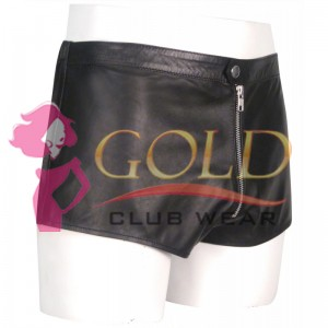 BLACK LEATHER SHORTS WITH FRONT ZIP